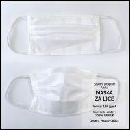 Zaštitna maska 10x18cm, damast - jednobojna - Bijelo