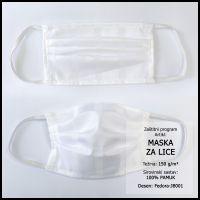 Maska za lice 10x18cm, damast - jednobojna - Bijelo